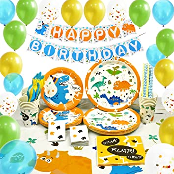 WERNNSAI Suministros de Fiesta de Dinosaurio Set - Decoracion de Fiesta para Chico Niños Cumpleaños Servilletas Cubiertos Mantel Platos Pancartas ...