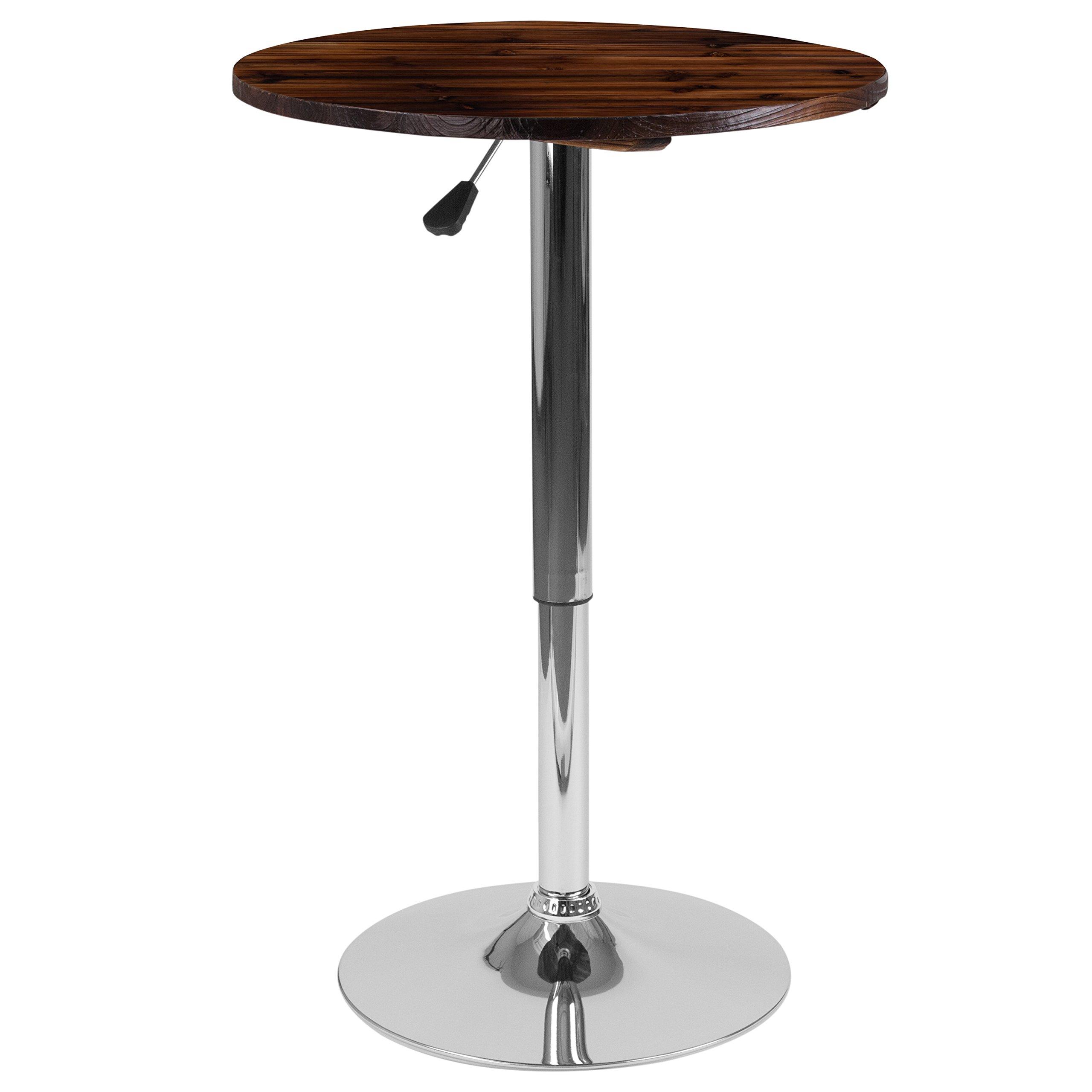 Flash Furniture 23.5'' Round Adjustable Height Rustic Walnut Wood Table (Adjustable Range 26.25'' - 35.5'')