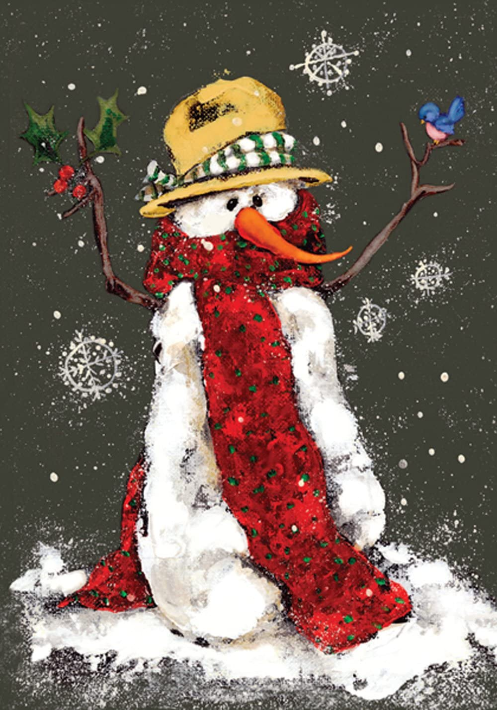 Toland Home Garden Red Scarf 28 x 40 Inch Decorative Winter Snowflake Snowman House Flag - 100565