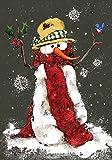 Toland Home Garden 110565 Toland-Red Scarf-Decorative Snowman Snowflake Black Winter Holiday USA-Produced Garden Flag