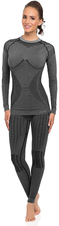 Merry Style Damen Funktionsunterwäsche Set lange Unterhose plus langarm Shirt thermoaktiv 60w10w20