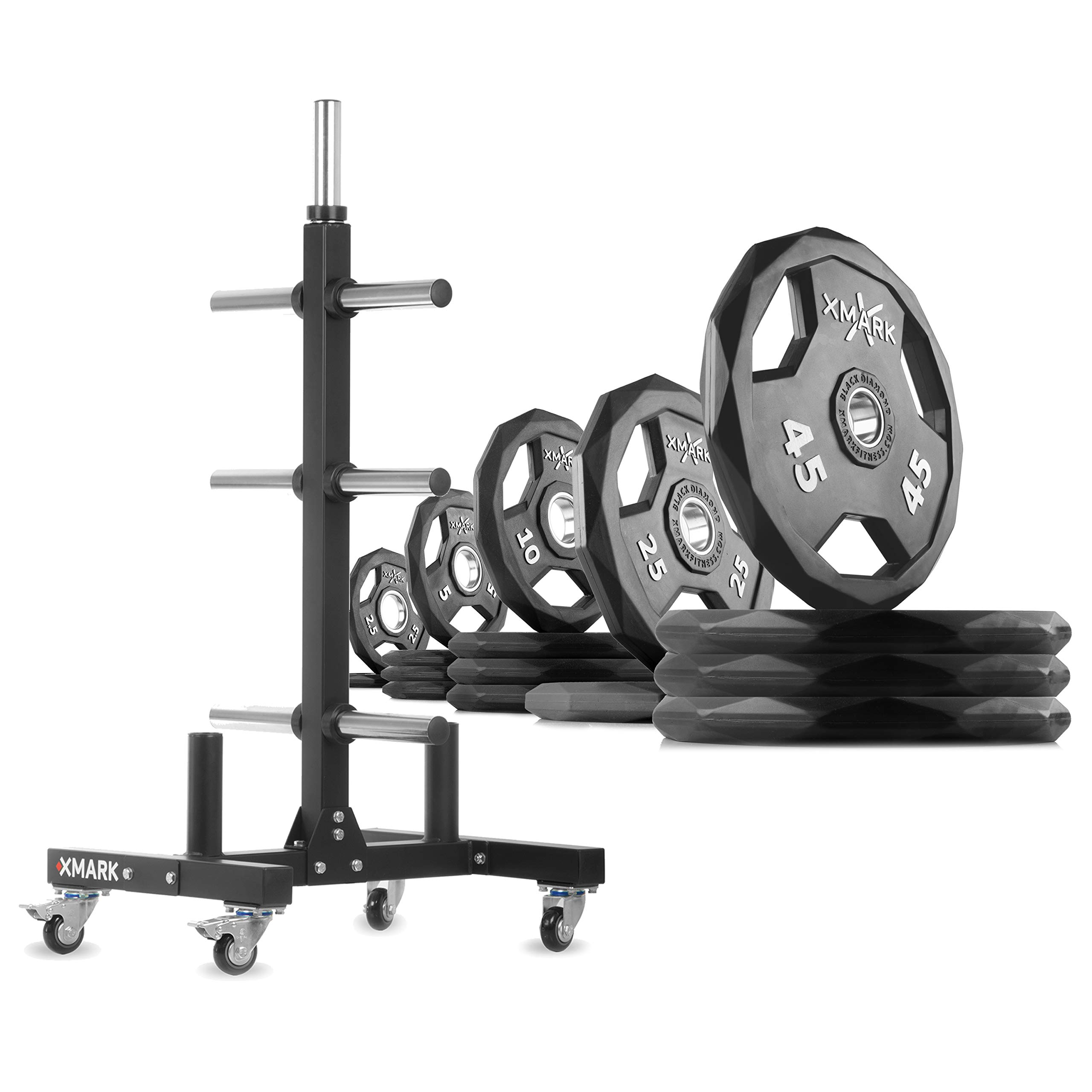 XMark XM-9055 Commerical Olympic Weight Tree Plus a 295 lb Set of Black Diamond Olympic Plates by XMark