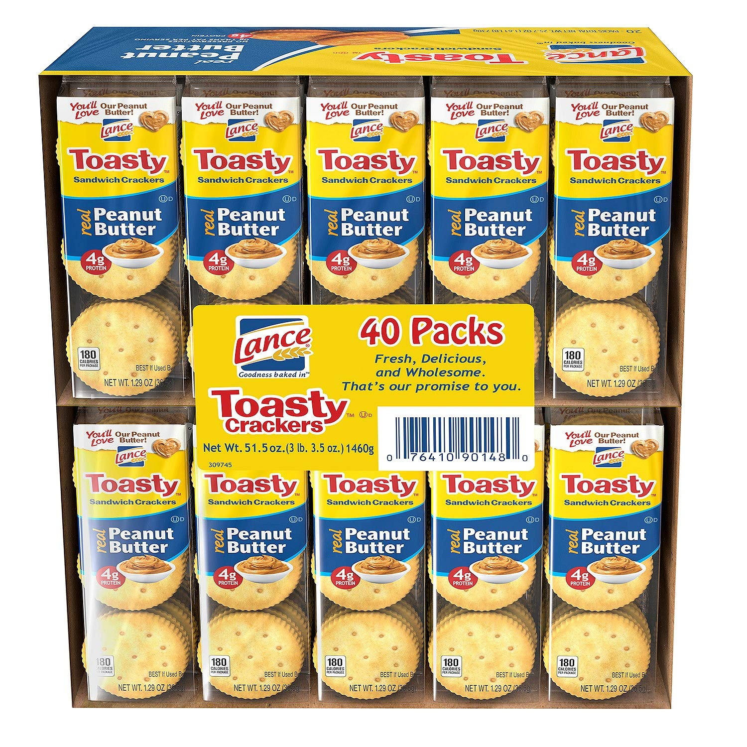 Lance Sandwich Crackers, Toasty Peanut Butter 40 pk. (pack of 3) A1