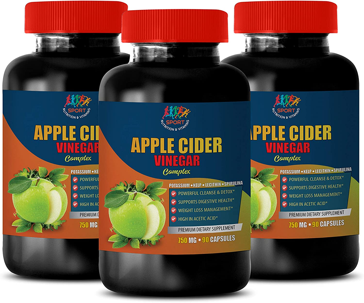 Digestive Support Supplements - Apple Cider Vinegar Complex 750 MG - Apple Cider Vinegar for Weight Loss - 3B (270 Capsules)