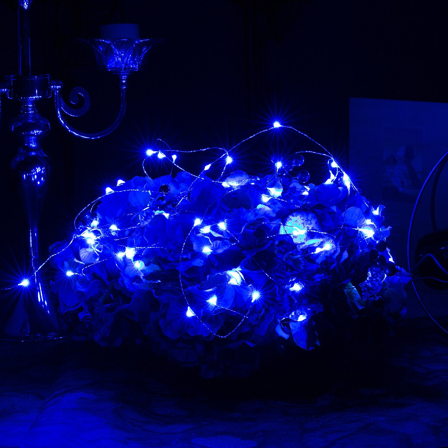 Bedroom Festival Christmas Wedding Party Patio Window with USB Interface Blue Ehome 100 LED 33ft//10m Starry Fairy String Light Waterproof Decorative Copper Wire Lights for Indoor