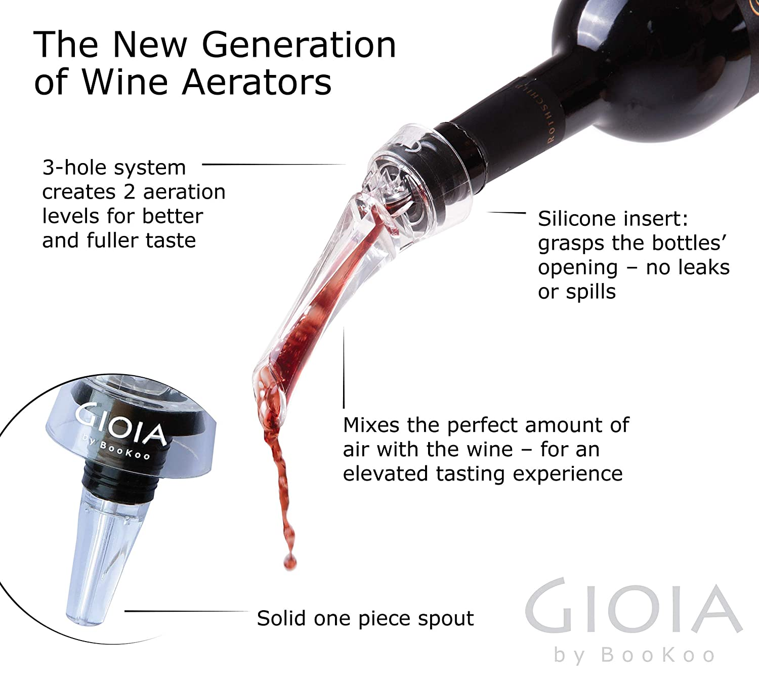 in Black Gift Box GIOIA Wine Aerator Pourer Decanter with Corkscrew Opener and Vacuum Stopper