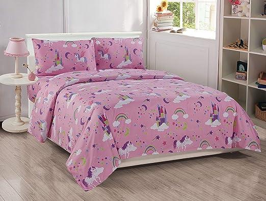 Sleep Zone Girls Unicorn Twin Sheet Set Hot Pink