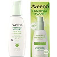 Aveeno Positively Radiant Sheer Daily Moisturizing Lotion for Dry Skin with Total Soy Complex and SPF 30 Sunscreen, Oil…