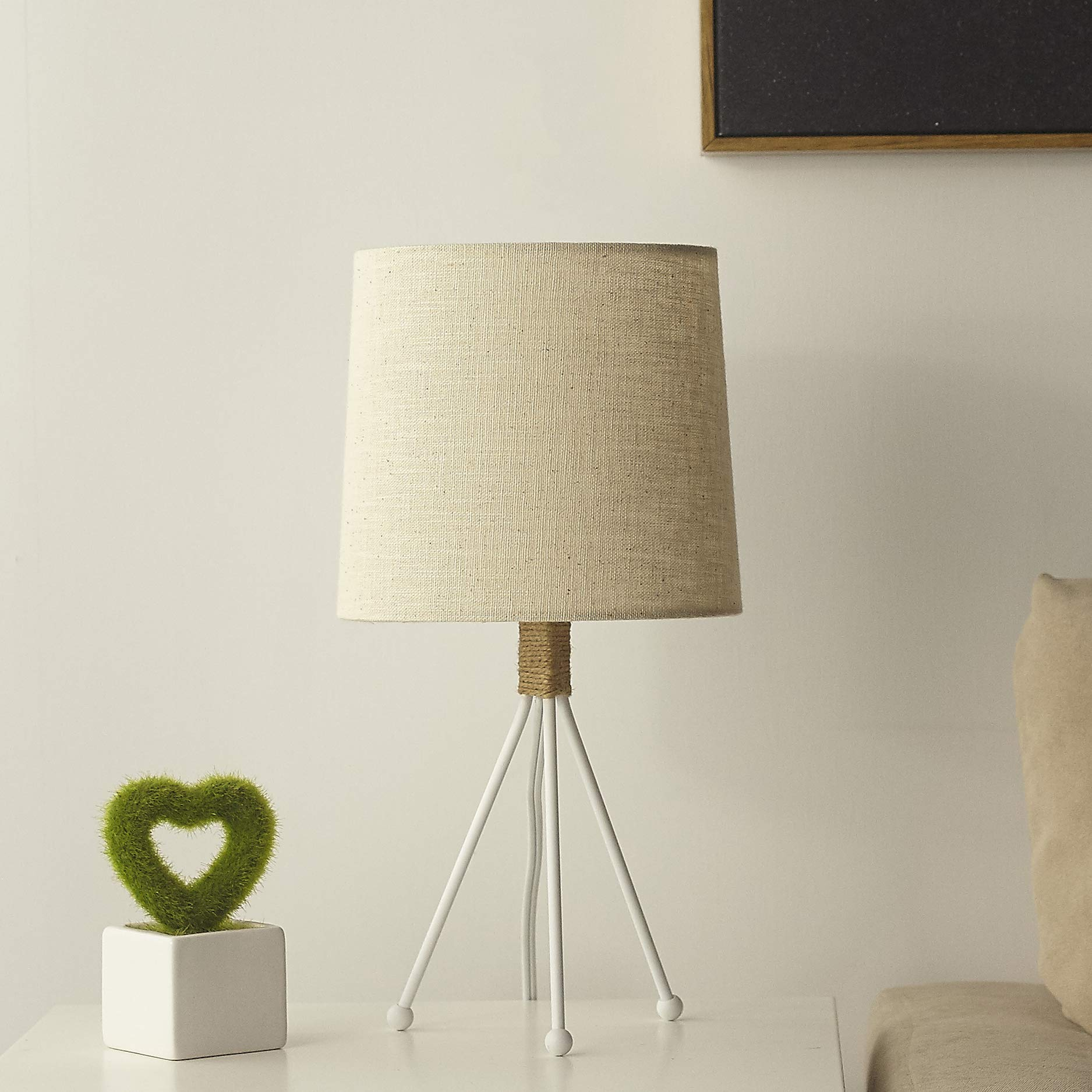 Tripod Small Table Lamp,14''H Small Bedside Lamp