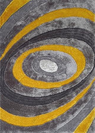 RUGADDICTION Alfombra Color Gris y Amarillo hecha a mano modelo moderno suave y lujosa , gruesa