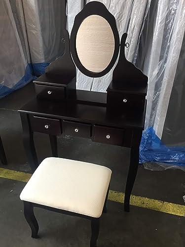 SQUARE FURNITURE Wood Make-Up Vanity Table Set Espresso