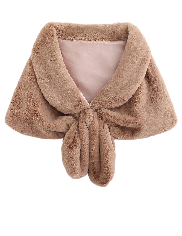 Isoft Faux Fur Shawl Wrap Stole Shrug Winter Bridal Wedding Cover Up-M-C