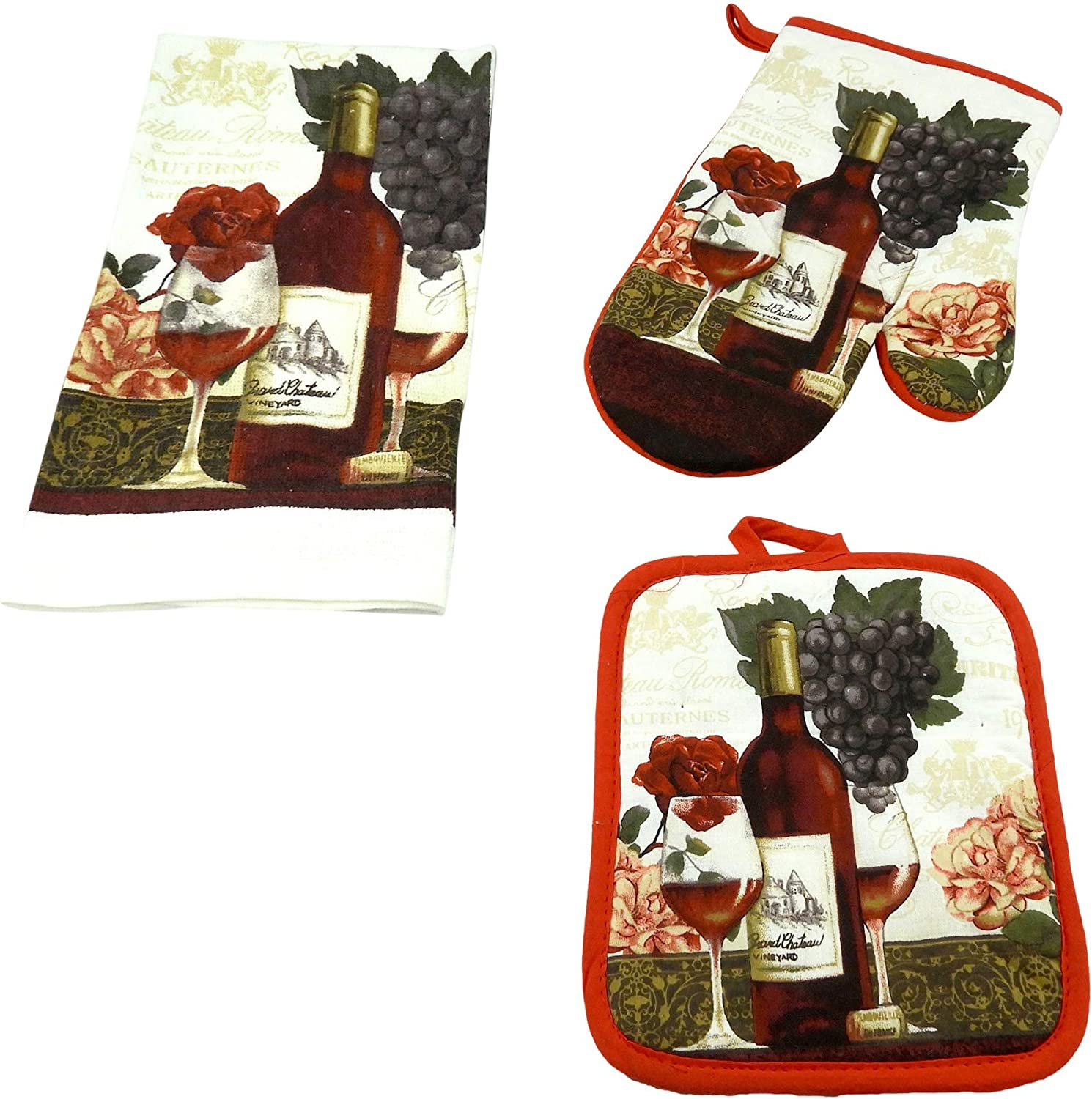 DINY Home & Style 3 Piece Kitchen Set Includes Towel Pot Holder & Oven Mitt Grapes & Wine Bottle Design