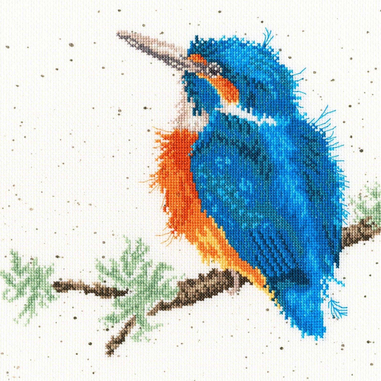 Wrendale de Martín pescador de cuadro de punto de cruz, tela Aida de 14, Anchor algodón hilo de bordar, 26 cm x 26 cm: Amazon.es: Hogar