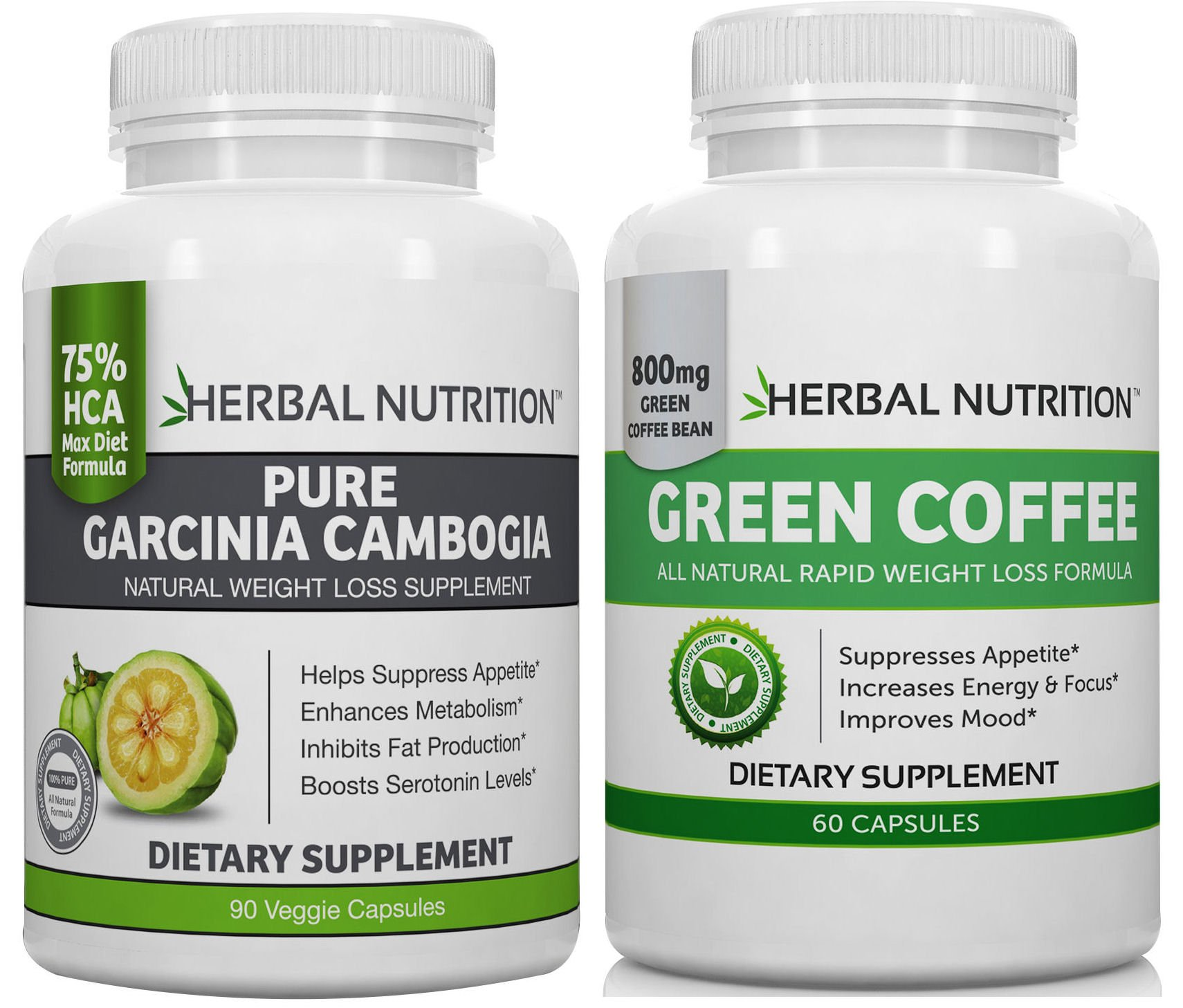 Diet Stack - Garcinia Cambogia and Green Coffee Bean Extract Together 1 Bottle of Each Double Diet Attack Garcinia 75% HCA 1500mg Green Coffee 50% Chlorogenic Acid 800mg Free Shipping