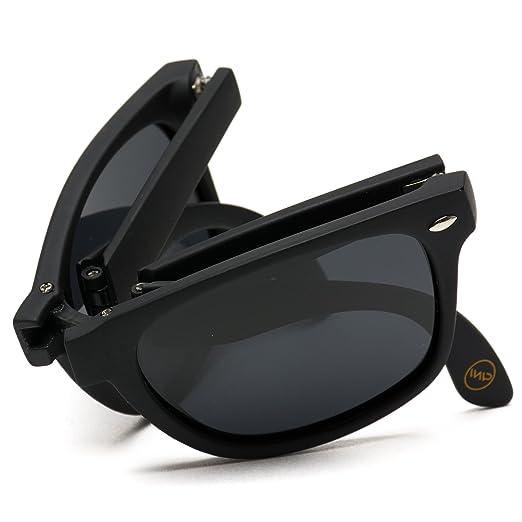 a4942105519 Modern Black Square Foldable Sunglasses with Case (Black Frame Black Lens)