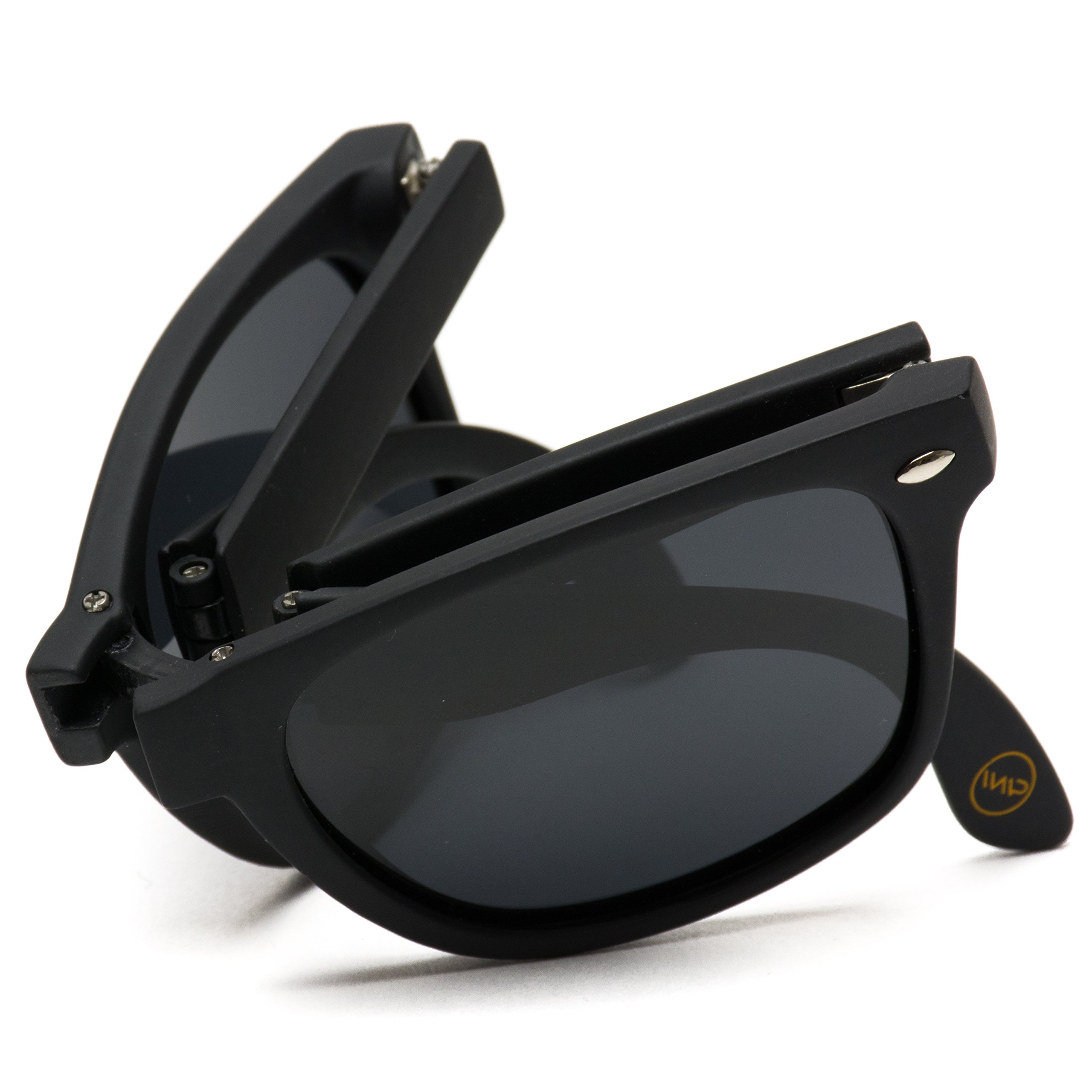 Modern Black Wayfarer Foldable Sunglasses with Case (Black Frame/Black Lens) by WearMe Pro