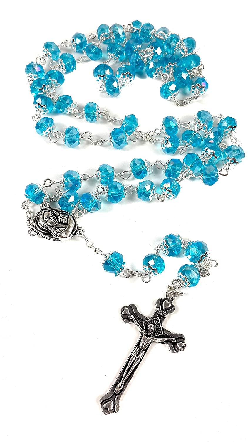 Turquoise Crystal Beads Rosary Catholic Necklace Holy Soil Medal with Crucifix by Nazareth Market Store Nazareth Store