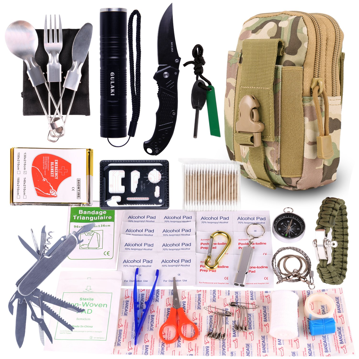 GULAKI Emergency Survival Gear Kits, Portable Survival Gear Tool First Aid Kit for Hiking Camping Travel Adventure