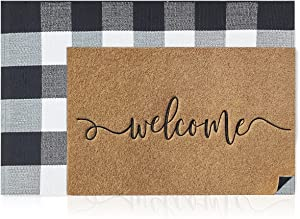 AAZZKANG Door Mat Set of 2 Brown Welcome Mat Outdoor Indoor with Durable Non Slip Rubber Backing+Buffalo Plaid Rug Checkered 24x36 for Layering Easy Clean Indoor Heavy Duty Entry Mat