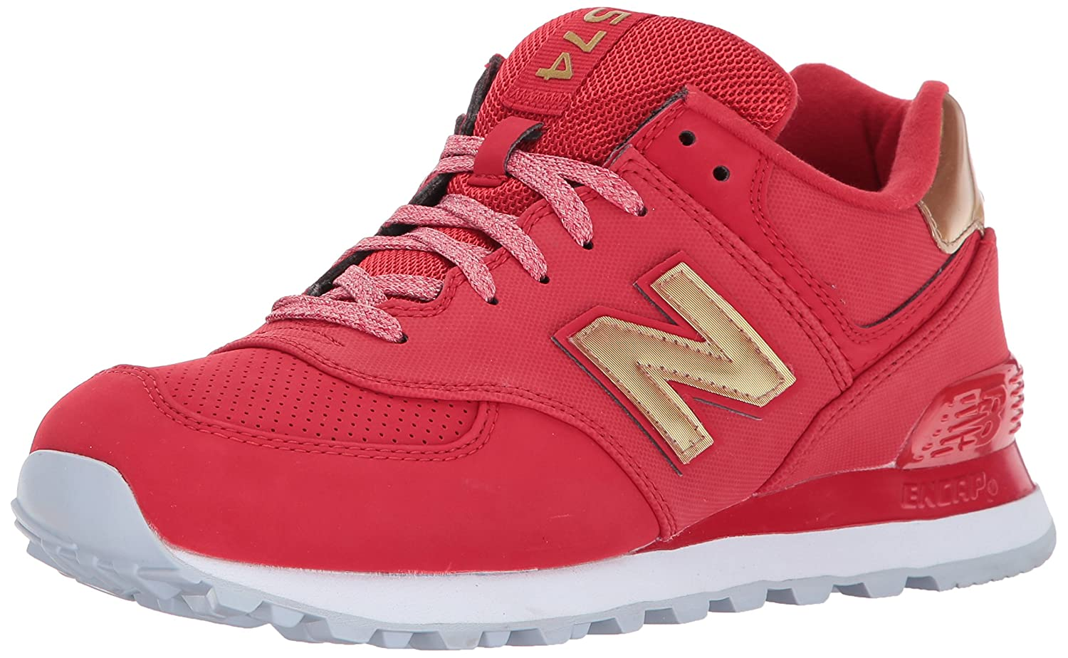 New Balance Women's 574v1 Varsity Sport Sneaker B01NA8UB66 9 D US|Team Red/Metallic Gold