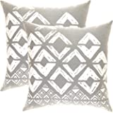 TreeWool, (Pack of 2) Cotton Canvas Square Geometric Accent Decorative Cushion Covers (45 x 45 cm, Sleet Grey & White)