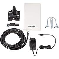 AmazonBasics - Antenna TV e radio digitali, da interni ed esterni, per HDTV, ricevitore DVB-T, VHF, UHF e FM, portata 48 km
