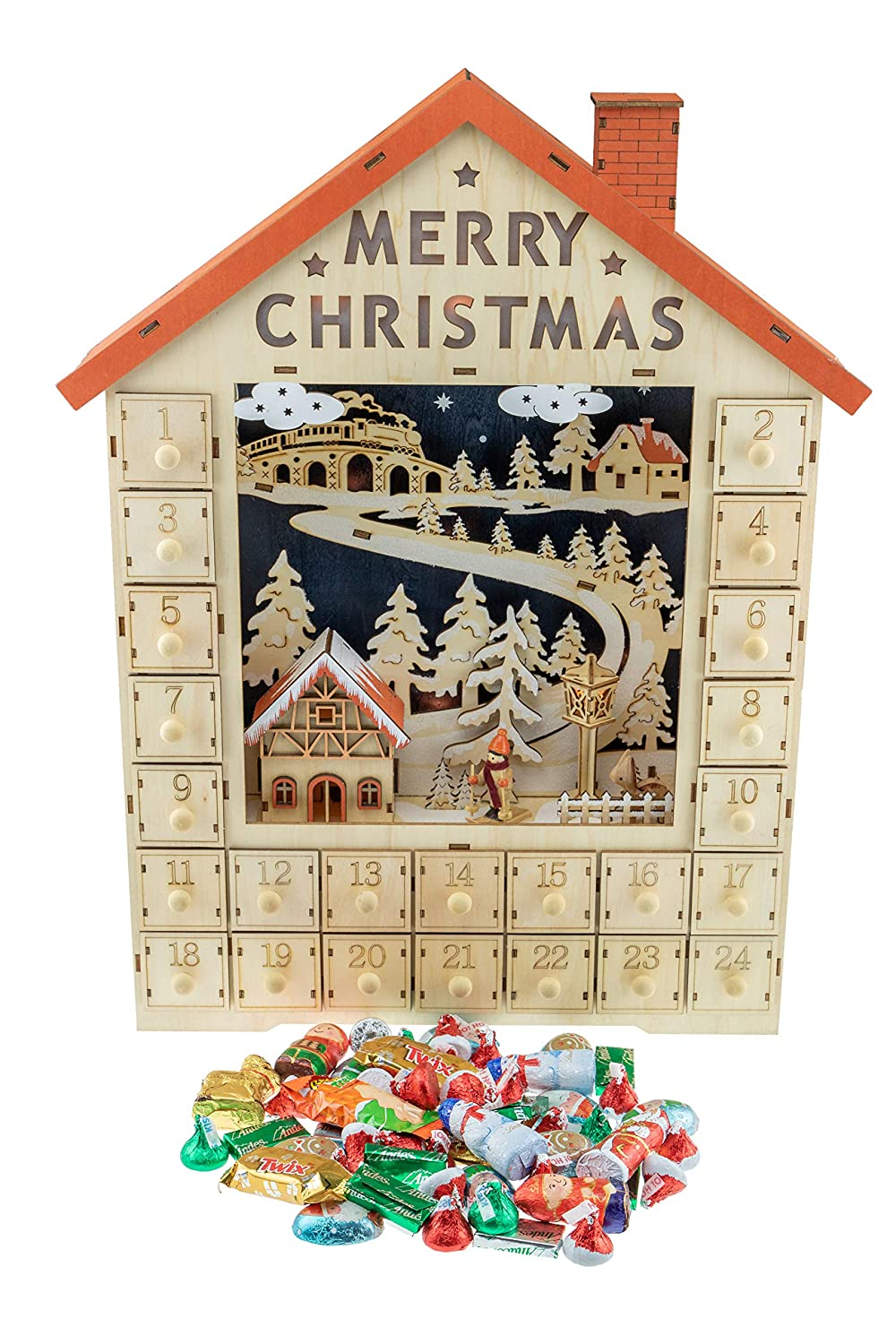 779fe51cf24 Clever Creations Traditional Wooden Christmas Advent Calendar   Festive  Christmas Village Decorations   Battery Operated LED Lights   Winter Snow  and ...