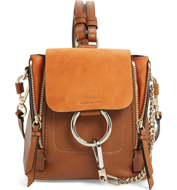 (クロエ) CHLOE women`s Mini Faye Leather & Suede Backpack ウィメンズミニフェイレザー&スエードバックパック(並行輸入品) B07ND33P4F タン One Size