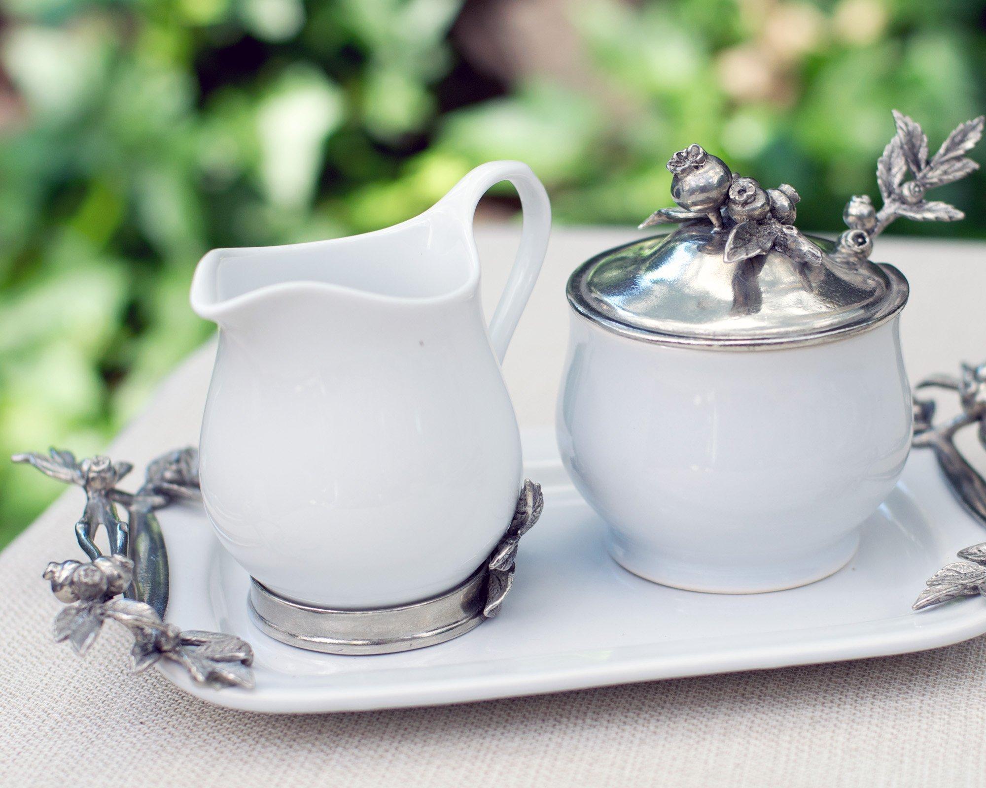 Vagabond House Stoneware Creamer Set - Pewter Blueberry 12.25'' Long