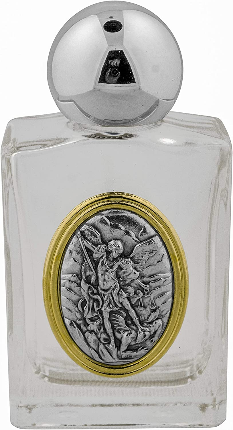 Venerare Glass Holy Water Bottle with Gold Accent Guardian Angel