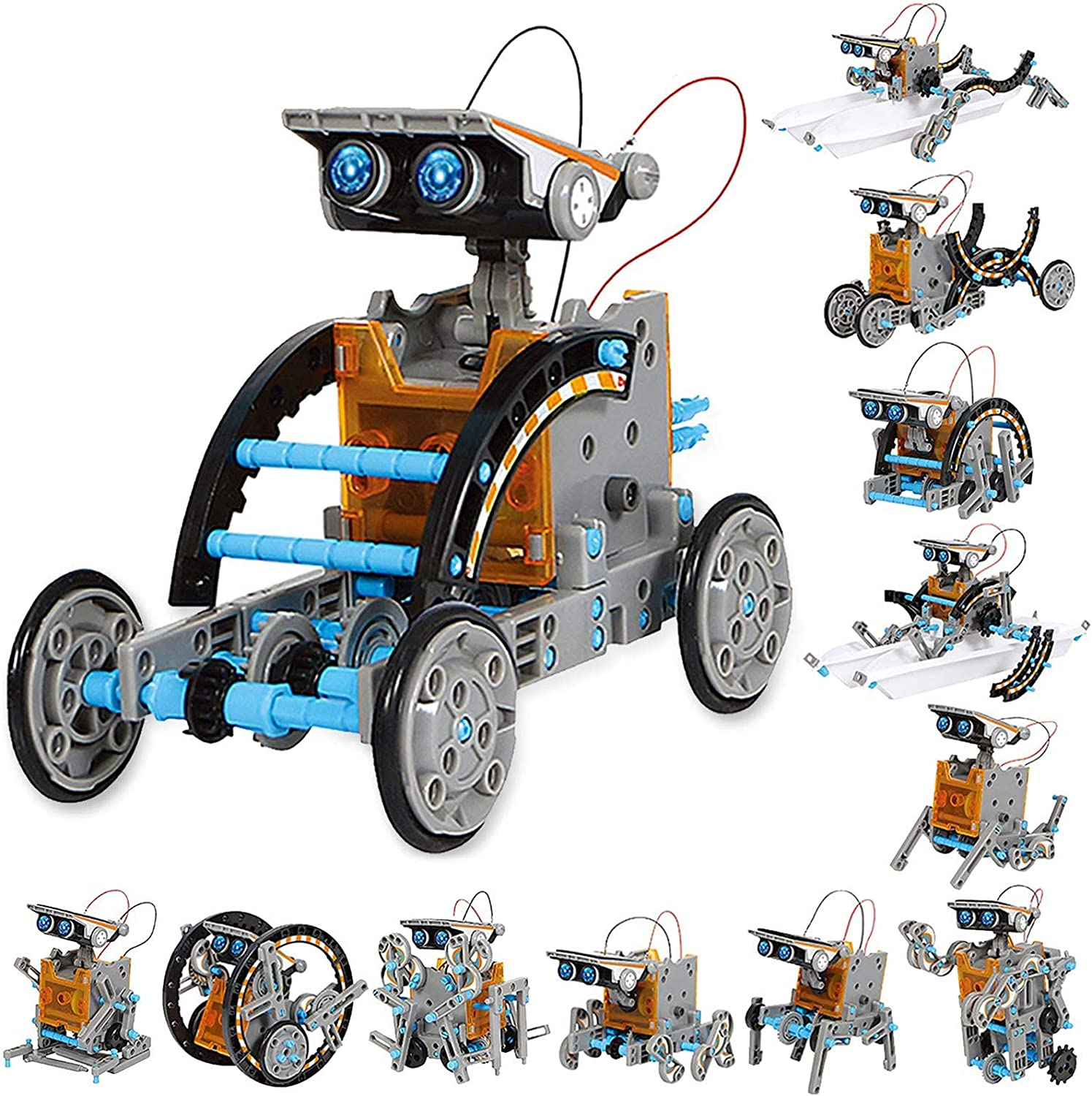 190 Pieces 12 Toy Configurations in 1 for Endless Building Fun STEM Solar Robot Creation Kit /Solar Powered DIY Science Experiments and STEAM Toys for Kids Ages 10 and Up/