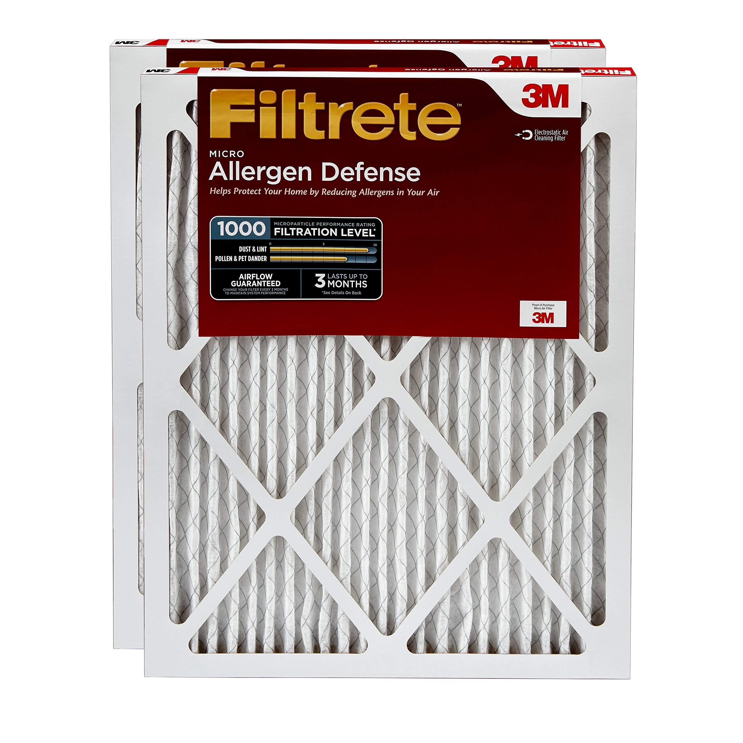 Filtrete 16x25x1, AC Furnace Air Filter, MPR 1000, Micro Allergen Defense, 2-Pack by Filtrete