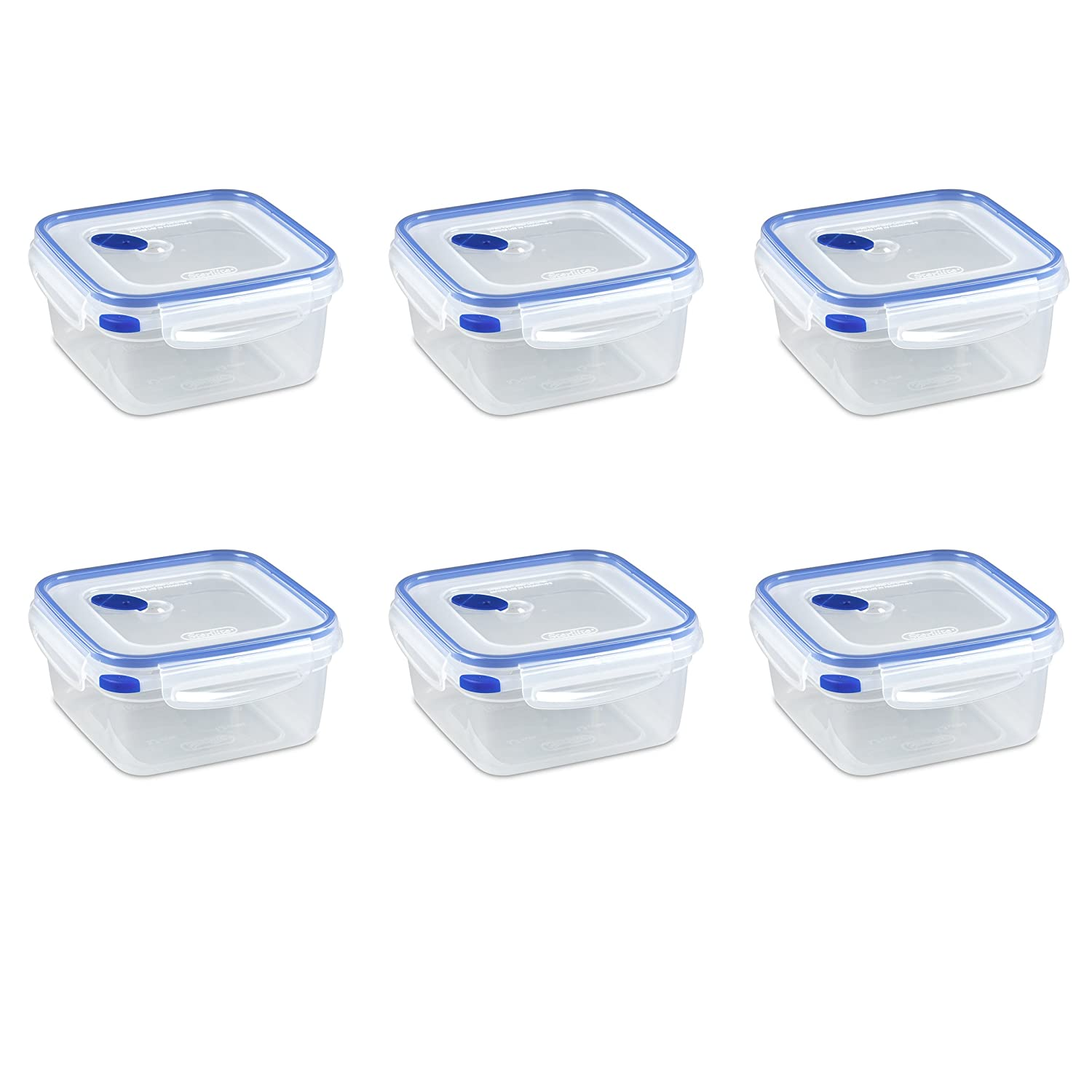 Sterilite 03324706 Ultra-Seal 5.7 Cup Food Storage Container, See-Through Lid & Base with Blue Accents, 6-Pack