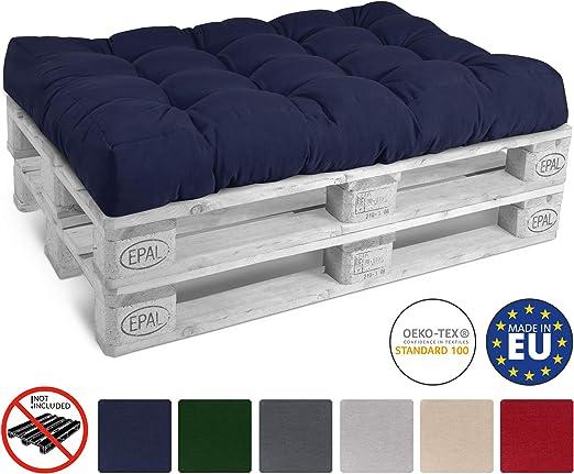 Beautissu Cojín Palet, sofá-Palet y europalet Eco Style - Cojín de Asiento Acolchado 120x80x15 cm - Color: Azul Marino Elegir in/Outdoor: Amazon.es: Jardín