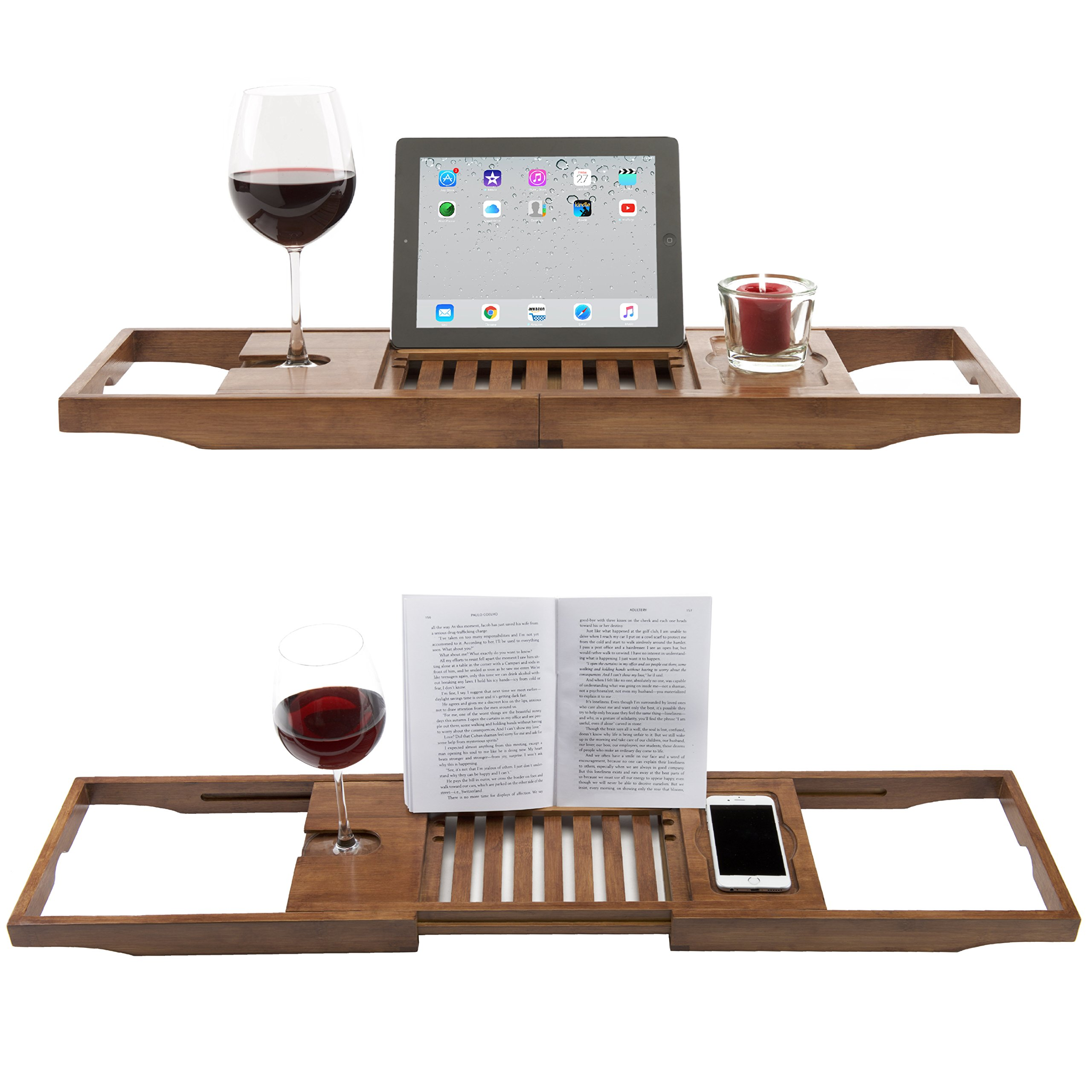 Luxury Dark Walnut Brown Bathtub Caddy, Natural Premium Bamboo Bath Tub Tray with Extending Sides, Reading Rack, Wine Glass, Book and Tablet Holder by Eden Bath (Image #1)