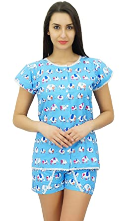 87d7d61d16 Bimba Women s Cotton Nightwear Button-Down Top With Shorts Cute Night Suit  Set