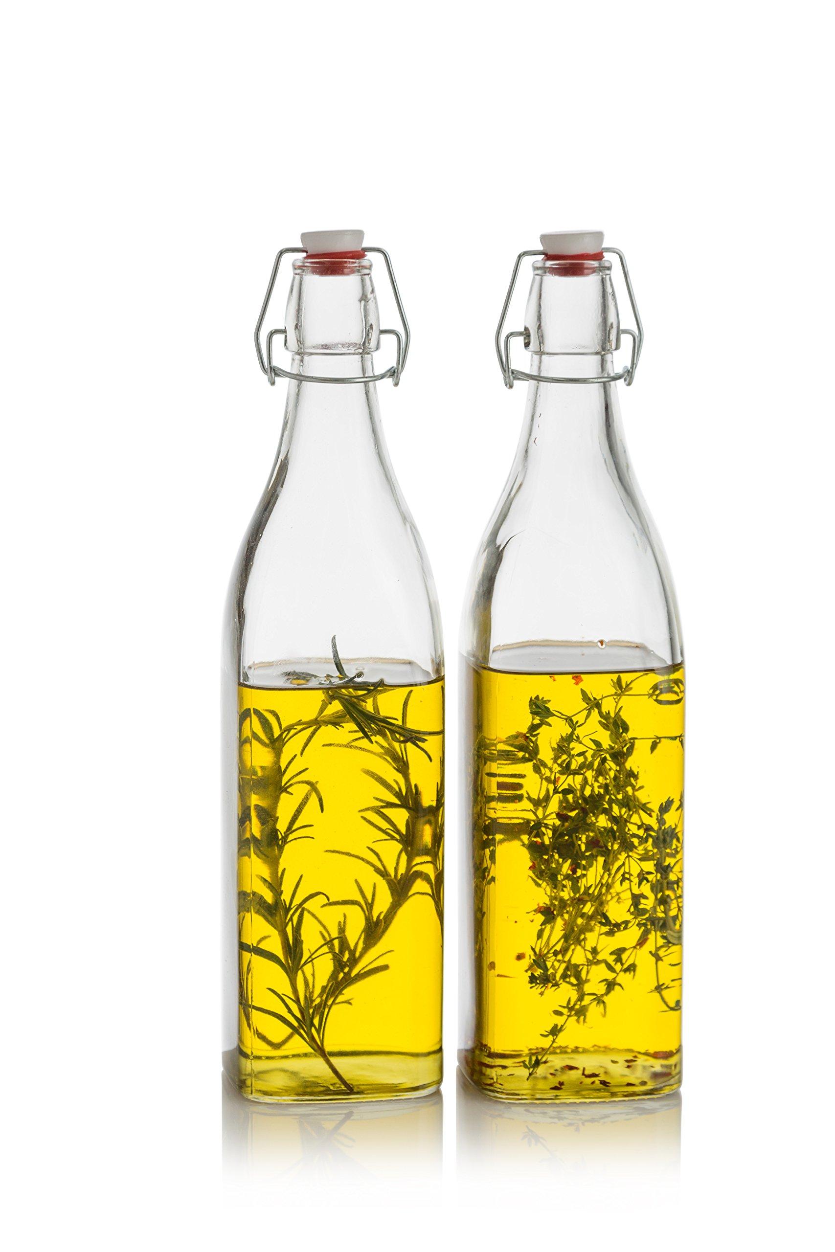 Klikel Conway Square Glass Water Bottles - Swing Top Clear Glass Multi-purpose Bottles 1 Liter (33.8oz), Set of 2
