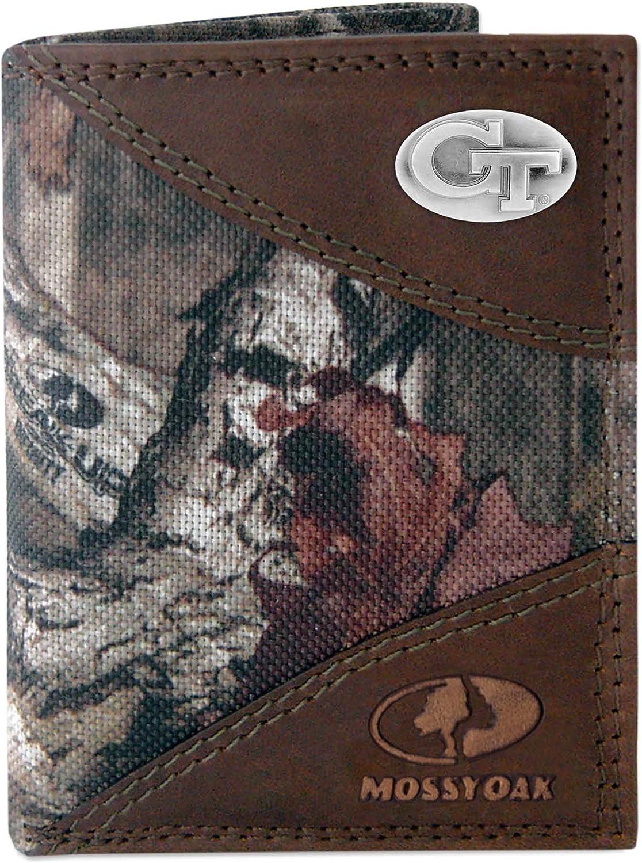 ZEP-PRO Uok-iwnt2-mos NCAA Oklahoma Sooners Zep-Pro Mossy Oak Nylon and Leather Trifold Concho Wallet Camouflage