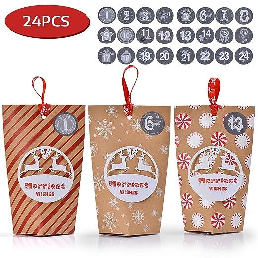 24 Cajas para Exponer y Rellenar 1-24 Adhesivos Digitales de Adviento Ulikey Cajas para Calendario de Adviento DIY Navidad Decoraci/ón Navide/ña