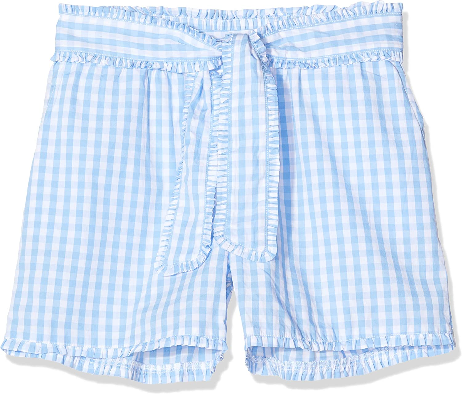 Scotch /& Soda Girls Yarn Dyed Check Cotton Shorts with Shell Fabric Bow