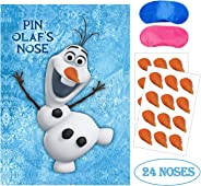 Eazyco Froze Party Supplies, Pin The Nose on Olaf, Froze Party Games, Large Poster 24PCS Nose Stickers for Frozen Theme Birth