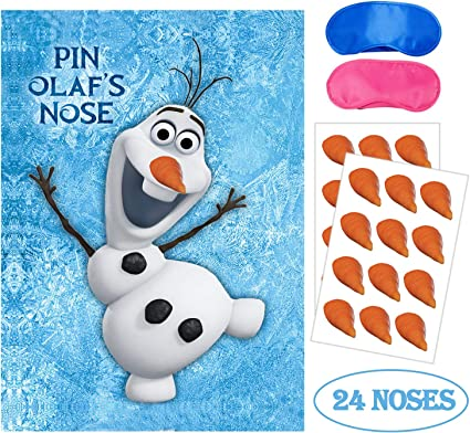 Eazyco Froze Party Supplies, Pin The Nose on Olaf, Froze Party Games, Large  Poster 9PCS Nose Stickers for Frozen Theme Birthday Baby Shower Party