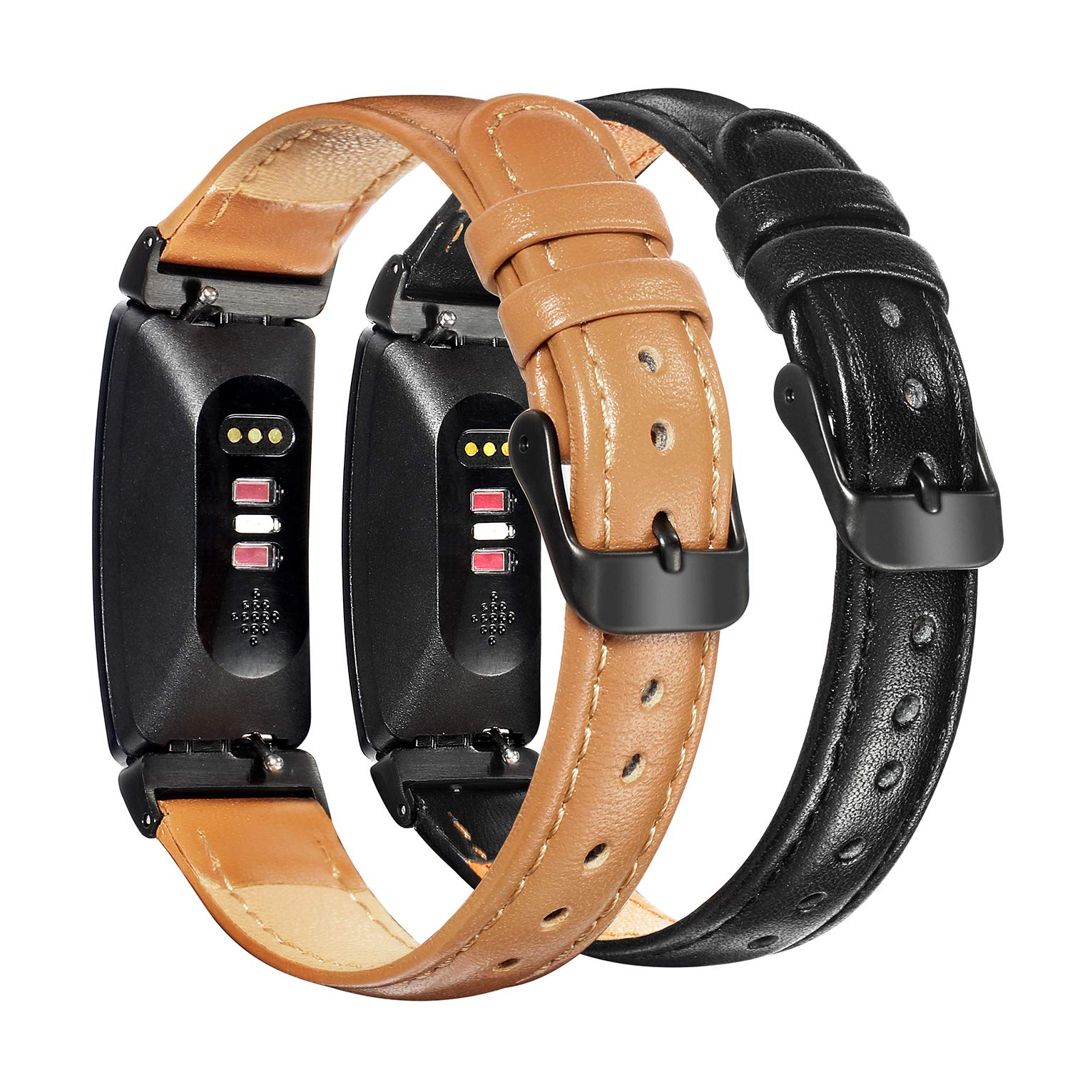 Bands for Fitbit Inspire HR and Inspire, 2 Pack Softer Genuine Leather Watch Straps with Black Buckle, Camel + Black (Camel + Black) by Loxan