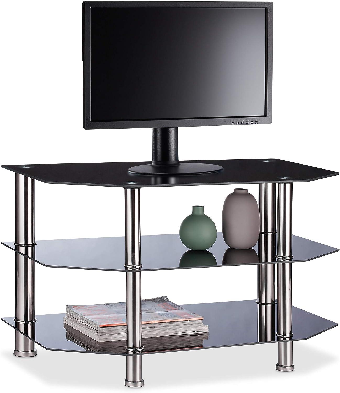 Relaxdays Mueble TV 3 Repisas de Cristal Templado, Vidrio y Acero Inoxidable, 49 x 80 x 45 cm, Negro y Plateado