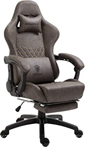 Dowinx Gaming Chair Office Chair PC Chair with Massage Lumbar Support, Vantage Style PU Leather High Back Adjustable Swivel Task Chair with Footrest (Brown)