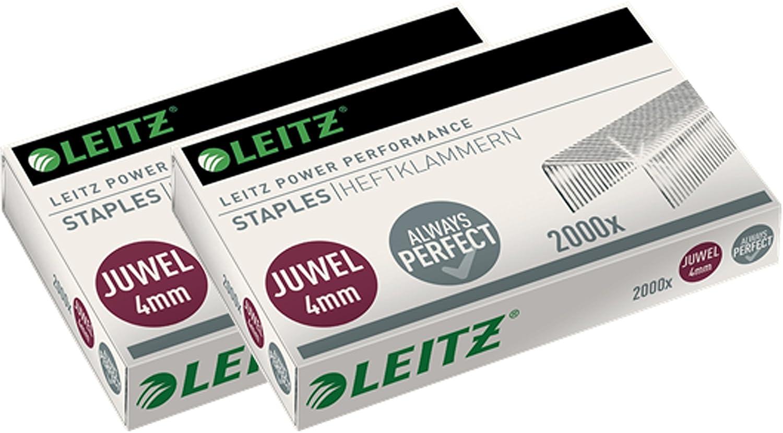 Leitz grapadora JUWEL 12 metal, 12 JUWEL hojas, mate, níquel, níquel, Heftzange + 5x Heftklammern 25eeb4