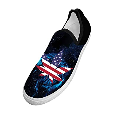 Personalized Marijuana and American Flag Men's Young Fly knit Lightweight Breathable Casual Shoes