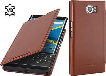 StilGut Book Type Case, Custodia in Pelle con Funzione On/off per Blackberry PRIV, Cognac