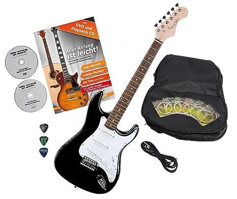 Rocktile Sphere Classic – Guitarra eléctrica Black con accesorios (Guitarra funda, cable, púas